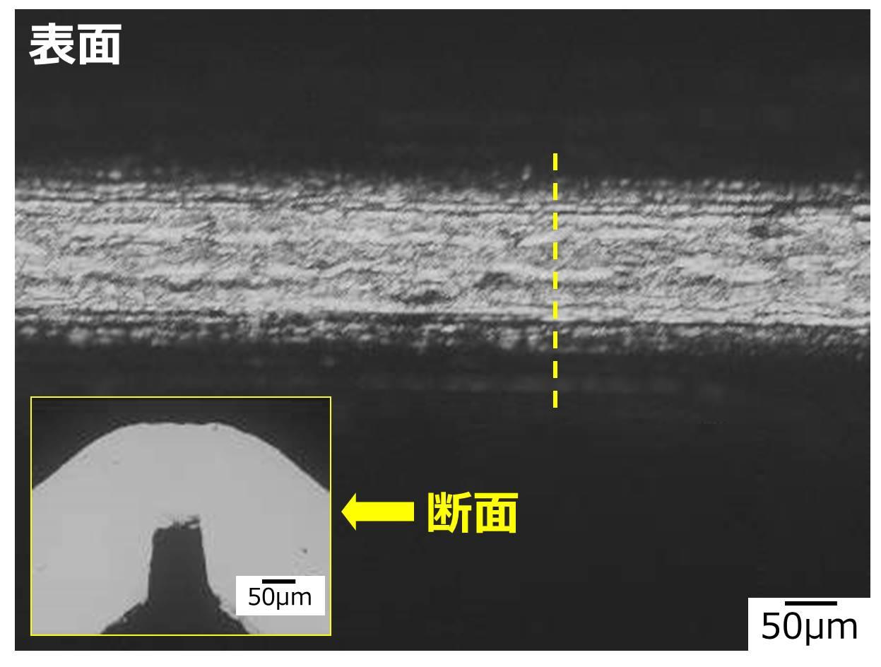 ノッチ曲げの例:NB-164 EH 0.15tmm